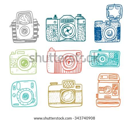 Illustration sketch vintage retro photo cameras set - stock vector