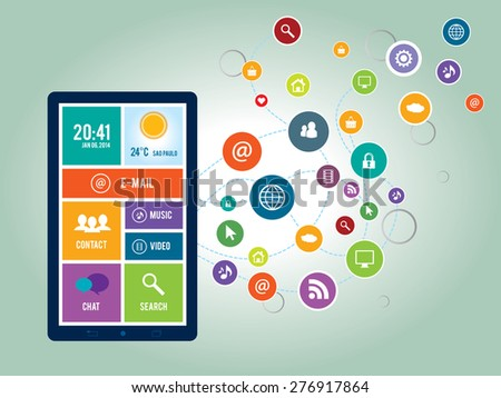 Illustration smart phone and icons of social media, communication and services on the Internet
