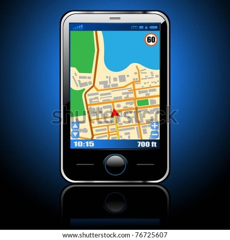 Illustration smart phone with GPS navigation. Vector.