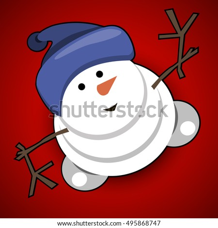 Illustration Snowman with a Hat on a Red Background