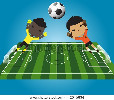 illustration soccer player goalkeeper jumping catches the ball - stock vector