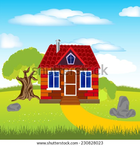 Illustration solitary building on glade by summer