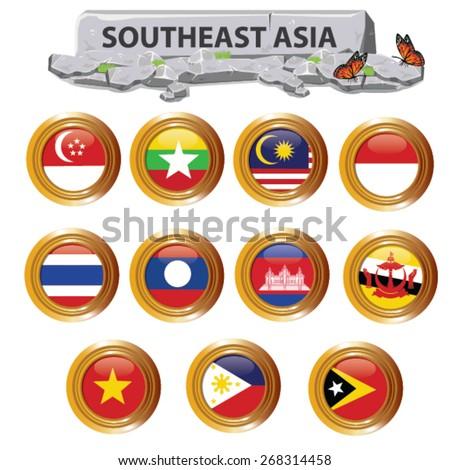 illustration.Southeast Asia on white background - stock vector