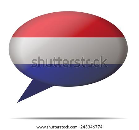 Illustration Speech Bubble Flag Netherlands - stock vector