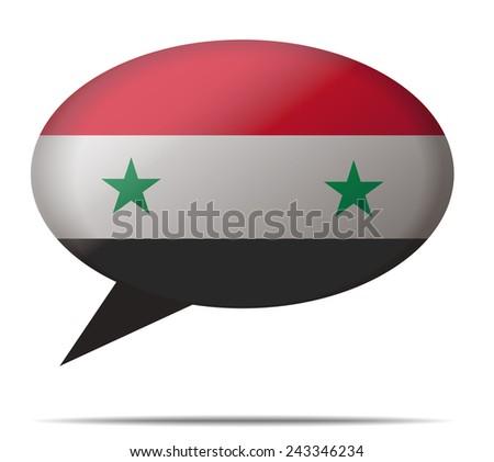 Illustration Speech Bubble Flag Syria - stock vector