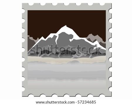 illustration  stamp vector illustration  night - stock vector