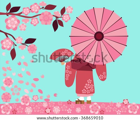 Illustration start hanami festival in Japan, the sakura blossom season - stock vector
