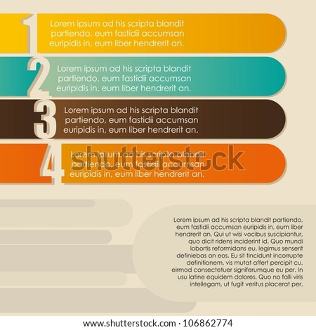 illustration step by step, numbered, vector illustration - stock vector