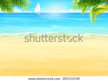 Illustration Summer beach and palm trees on the background of the sea and white sailboat - stock vector