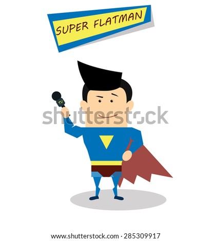 Illustration super journalist in flat design isolated on white background. Vector Superhero
