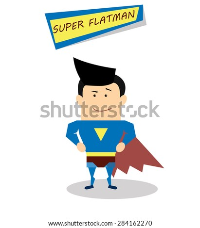 Illustration superman in flat design isolated on white background. Vector Superhero - stock vector
