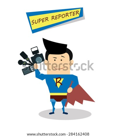 Illustration superman reporter in flat design isolated on white background. Vector Superhero reporter. Super live report concept,  journalists with microphones and tape recorders and camera - stock vector