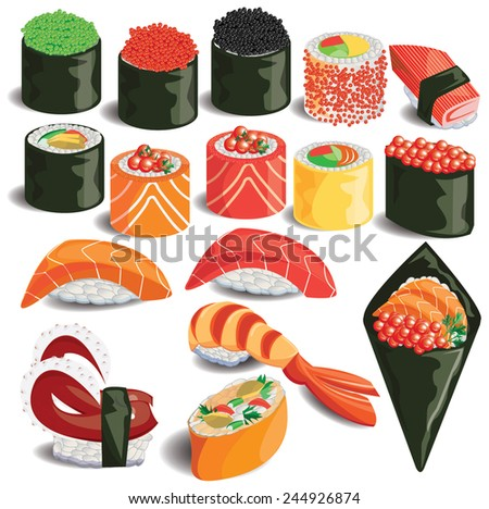 illustration,sushi colorful on white - stock vector