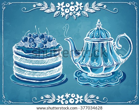 Illustration Tea Time with teapot berry cake. Invitation to the tea party or birthday. Floral frame. Freehand drawing with imitation of chalk sketch  - stock vector