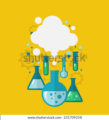 Illustration template of chemical experiment showing various tests being conducted in laboratory glassware using chemical solutions and reactions. Modern flat style - vector - stock vector