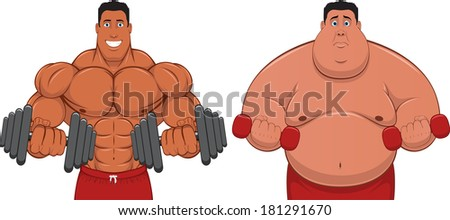 Illustration: the athlete and the Fatman - stock vector