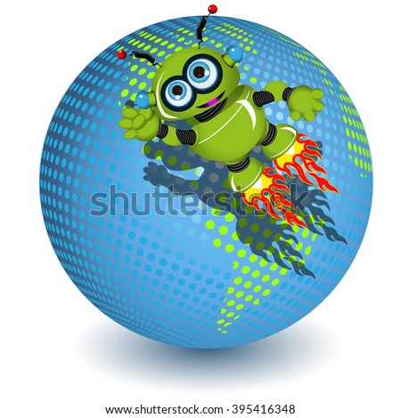 Illustration the green robot on the planet - stock vector