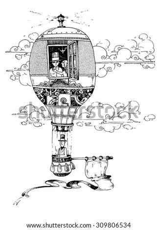 illustration the hot air balloon dream flying fantasy story optimistic melancholic - stock vector