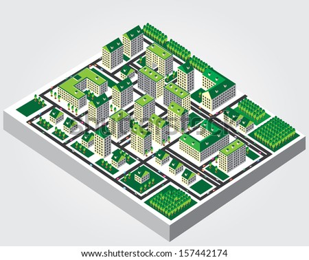 Illustration: The isometric view of the city - stock vector