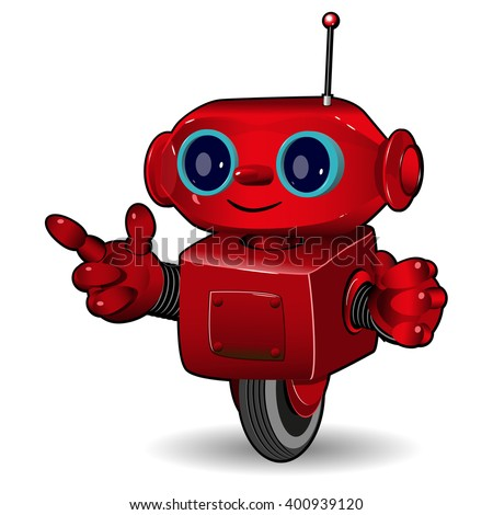 Illustration the red robot on the wheel - stock vector