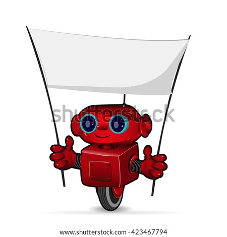 Illustration the red robot with a poster - stock vector
