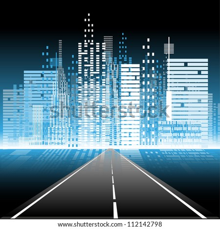 illustration the road to the city nightlife - stock vector