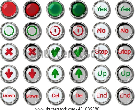illustration thirty buttons with inscription on white background