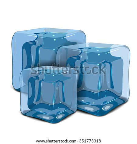 Illustration three ice cube on a white background - stock vector