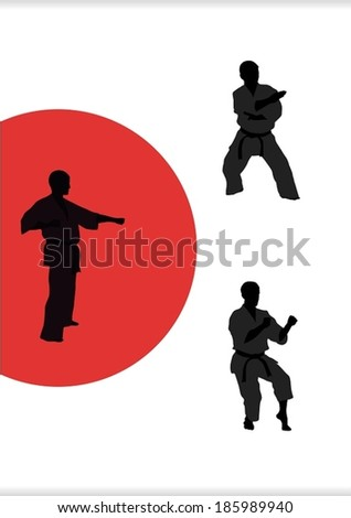 Illustration, three men are engaged in karate on a white background - stock vector