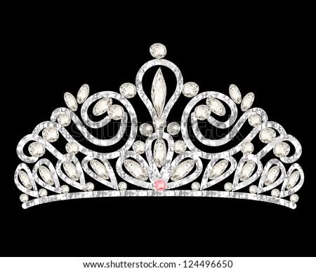 illustration tiara crown women's wedding with white stones - stock vector
