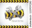 Illustration traffic tape wrench, under construction, vector illustration - stock photo