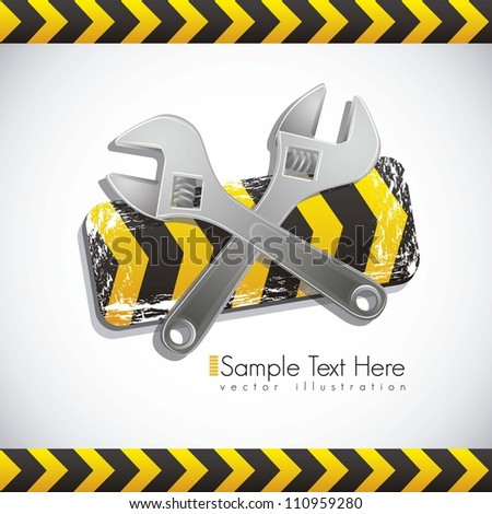 Illustration traffic tape wrench, under construction, vector illustration - stock vector