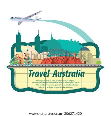 illustration. travel australia - stock vector