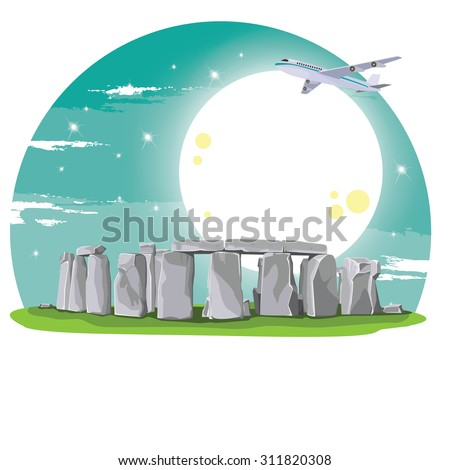 illustration. travel stonehenge England - stock vector