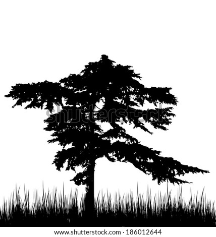 Illustration tree and grass in silhouette are isolated on white background - vector