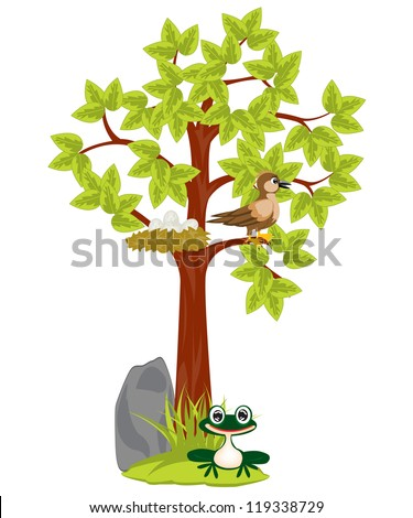 Illustration tree with jack and bird sitting on him