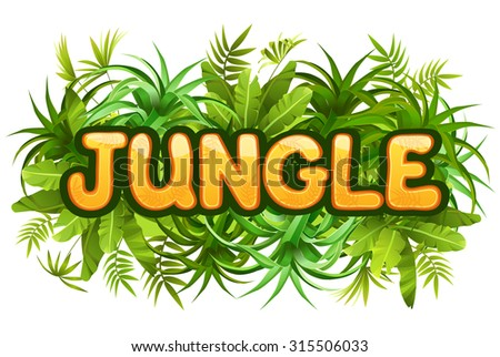 Illustration tropical jungle with inscription