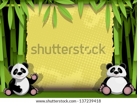 illustration  two panda on stem of the bamboo - stock vector