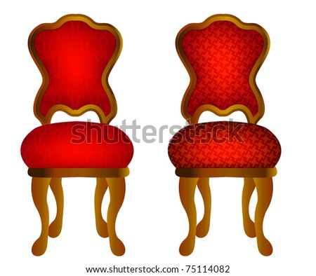 illustration two red chairs with pattern - stock vector