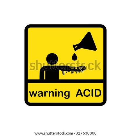 illustration vector creative design of warning acid on square yellow background - stock vector