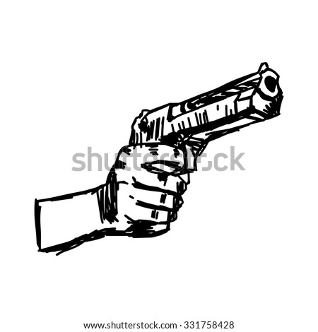 illustration vector doodle hand drawn of hand holding gun. - stock vector