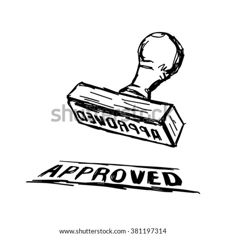 illustration vector doodle hand drawn of sketch Approved Stamp with Wooden handle Rubber Stamper  - stock vector