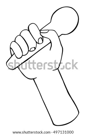 illustration vector doodle hand drawn of sketch hand with microphone