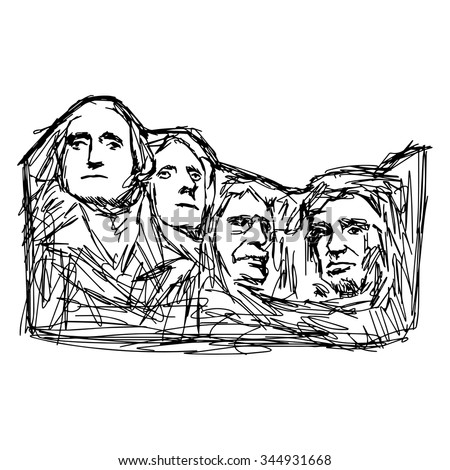 illustration vector doodle hand drawn of sketch Mount Rushmore isolated