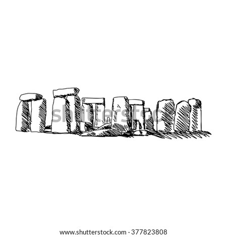 illustration vector doodle hand drawn of sketch stonehenge isolated on white background - stock vector
