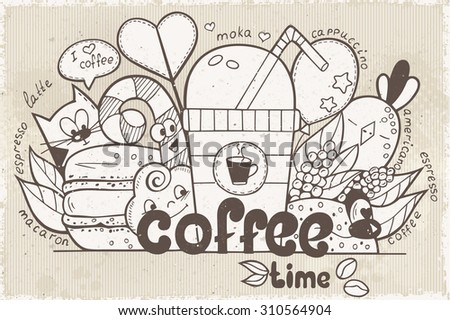 Illustration vector doodles with funny characters on the theme of the coffee in retro style - stock vector