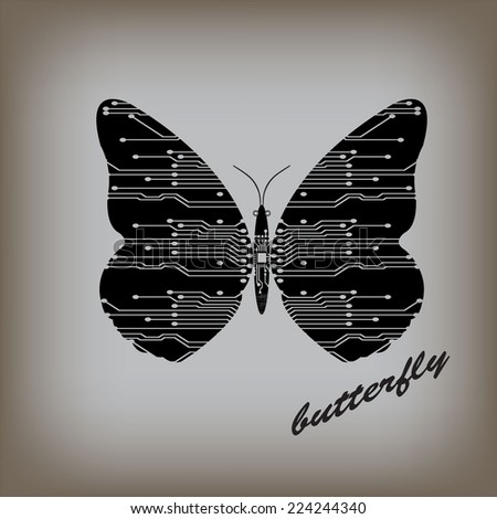 Illustration vector  electronic circuit board abstract butterfly - stock vector