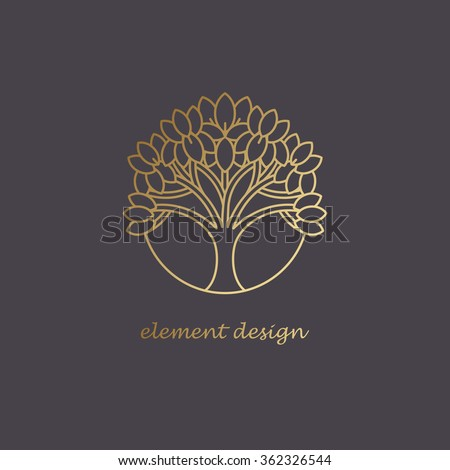 Illustration vector element of a tree in a modern style mono line. Golden print on a black background. Decorative template to create a unique design, logos, signage, posters. Concept for organic shop. - stock vector