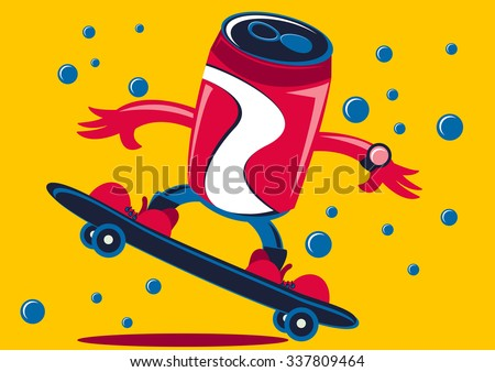 Illustration vector graphic cartoon character of soft drink can using skateboard - stock vector