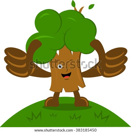 Illustration vector graphic cartoon character of tree with thumbs up - stock vector